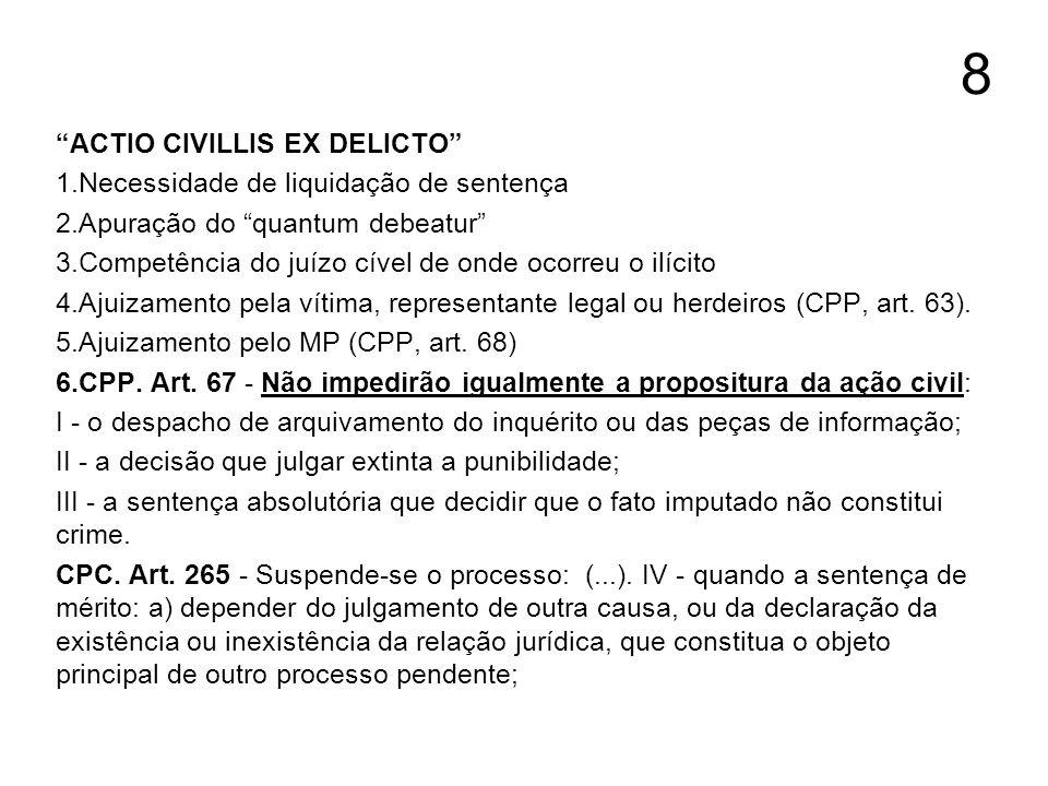 8 ACTIO CIVILLIS EX DELICTO 1.Necessidade de liquidação de sentença 2.Apuração do quantum debeatur 3.Competência do juízo cível de onde ocorreu o ilíc