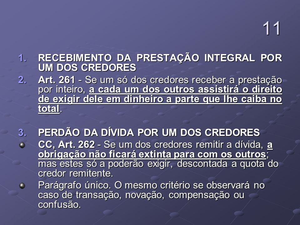 11 1.RECEBIMENTO DA PRESTAÇÃO INTEGRAL POR UM DOS CREDORES 2.Art.