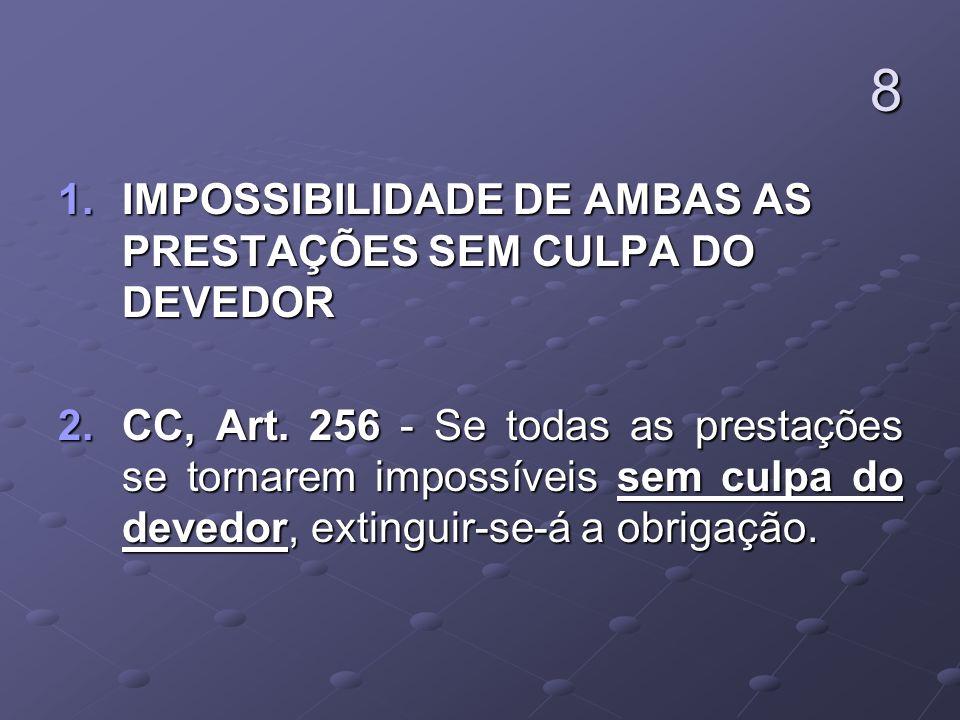 8 1.IMPOSSIBILIDADE DE AMBAS AS PRESTAÇÕES SEM CULPA DO DEVEDOR 2.CC, Art.