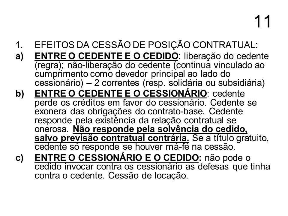 11 1.EFEITOS DA CESSÃO DE POSIÇÃO CONTRATUAL: a)ENTRE O CEDENTE E O CEDIDO: liberação do cedente (regra); não-liberação do cedente (continua vinculado