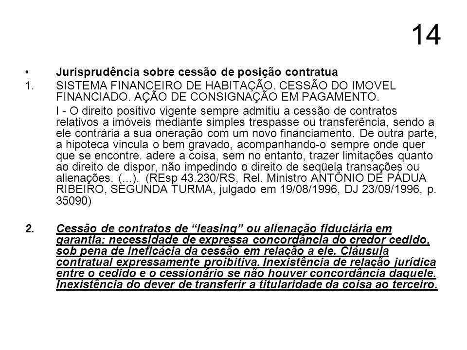 14 Jurisprudência sobre cessão de posição contratua 1. SISTEMA FINANCEIRO DE HABITAÇÃO. CESSÃO DO IMOVEL FINANCIADO. AÇÃO DE CONSIGNAÇÃO EM PAGAMENTO.