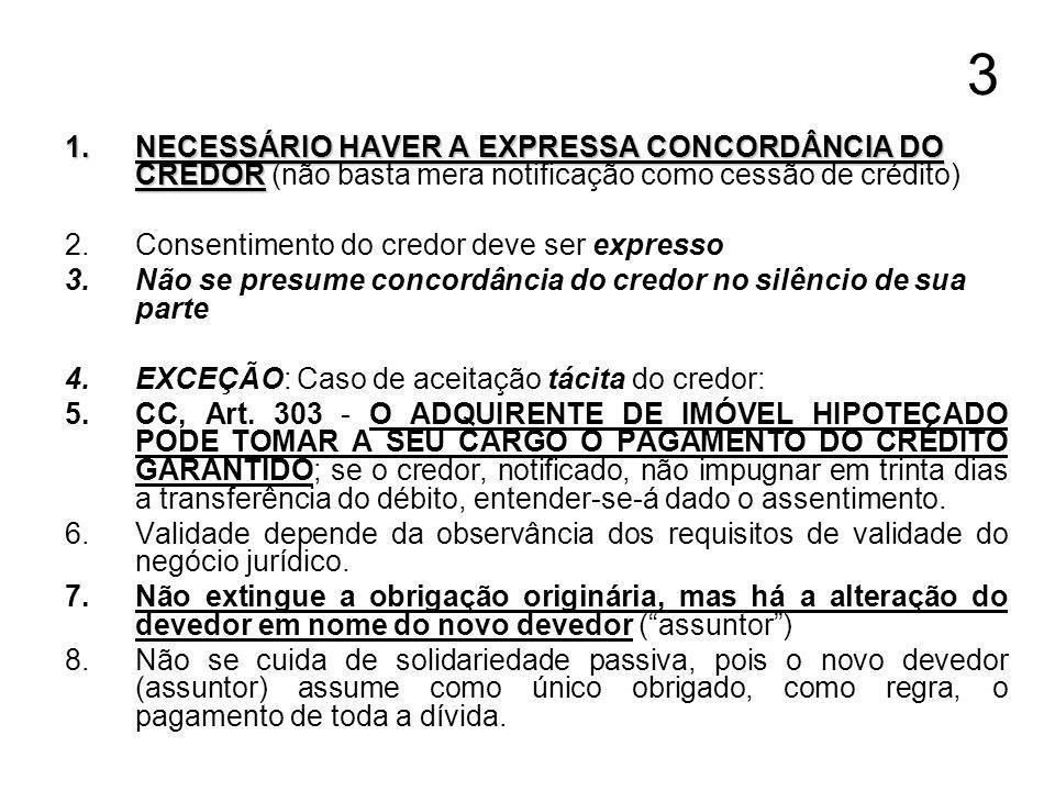 3 1.NECESSÁRIO HAVER A EXPRESSA CONCORDÂNCIA DO CREDOR 1.NECESSÁRIO HAVER A EXPRESSA CONCORDÂNCIA DO CREDOR (não basta mera notificação como cessão de crédito) 2.Consentimento do credor deve ser expresso 3.Não se presume concordância do credor no silêncio de sua parte 4.EXCEÇÃO: Caso de aceitação tácita do credor: 5.CC, Art.