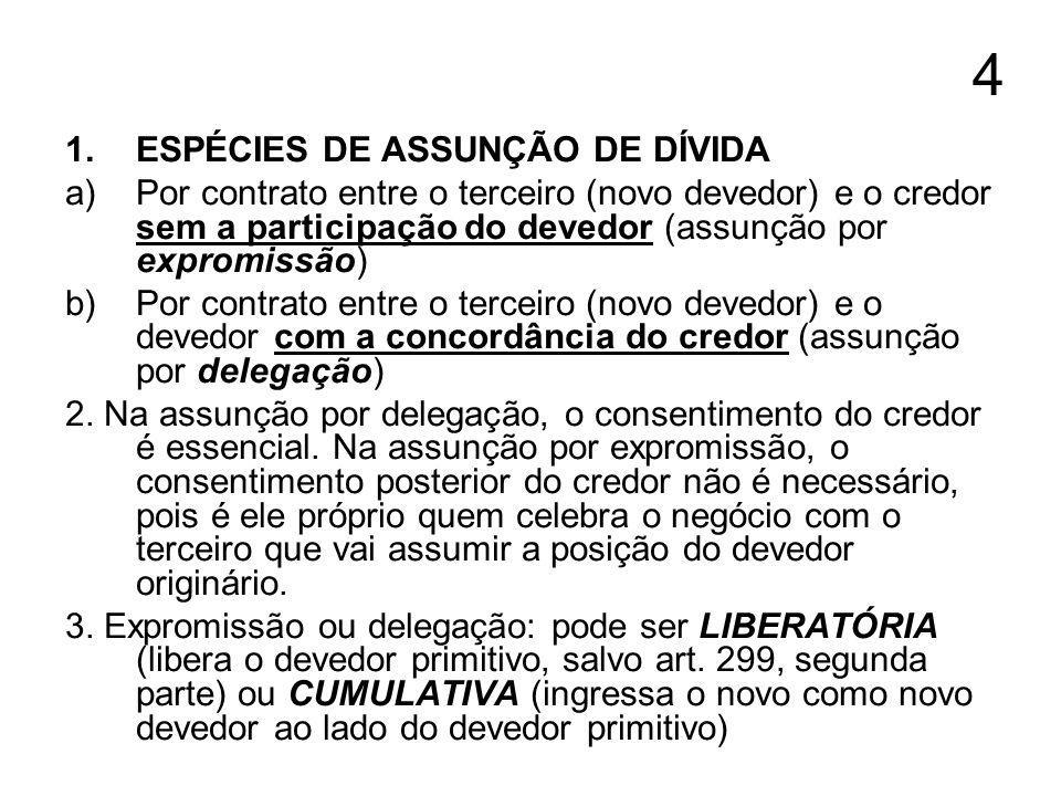 4 1.ESPÉCIES DE ASSUNÇÃO DE DÍVIDA a)Por contrato entre o terceiro (novo devedor) e o credor sem a participação do devedor (assunção por expromissão) b)Por contrato entre o terceiro (novo devedor) e o devedor com a concordância do credor (assunção por delegação) 2.