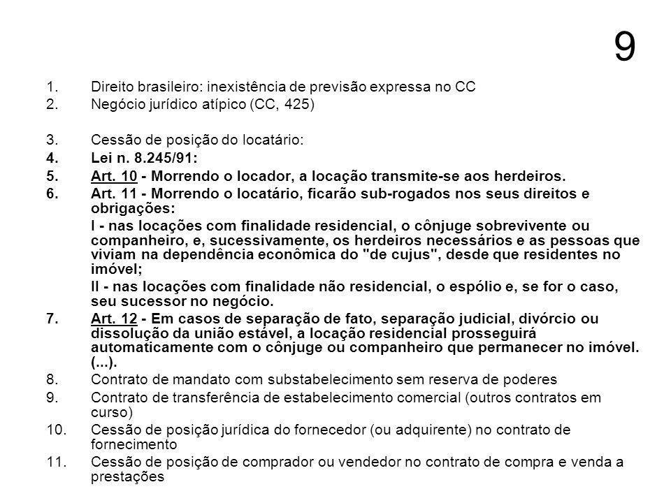 9 1.Direito brasileiro: inexistência de previsão expressa no CC 2.Negócio jurídico atípico (CC, 425) 3.Cessão de posição do locatário: 4.Lei n. 8.245/