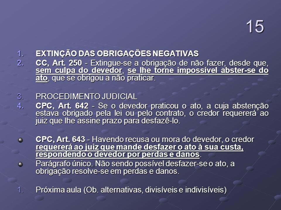 15 1.EXTINÇÃO DAS OBRIGAÇÕES NEGATIVAS 2.CC, Art. 250 - Extingue-se a obrigação de não fazer, desde que, sem culpa do devedor, se lhe torne impossível
