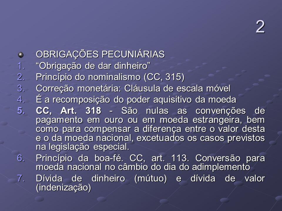 2 OBRIGAÇÕES PECUNIÁRIAS 1.Obrigação de dar dinheiro 2.Princípio do nominalismo (CC, 315) 3.Correção monetária: Cláusula de escala móvel 4.É a recompo