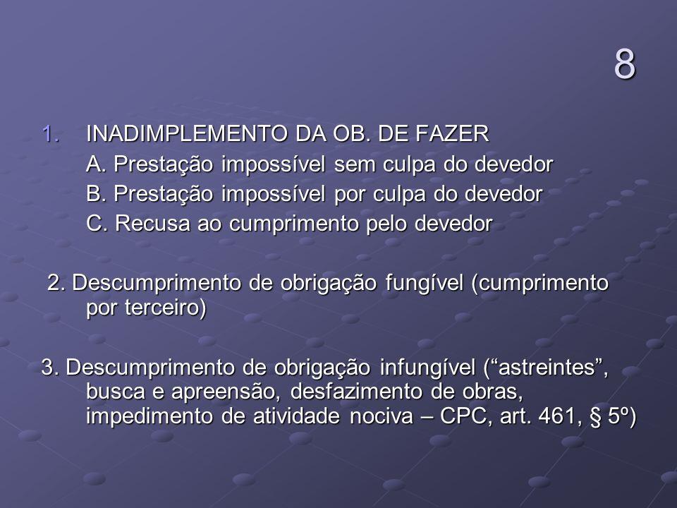 8 1.INADIMPLEMENTO DA OB. DE FAZER A. Prestação impossível sem culpa do devedor A. Prestação impossível sem culpa do devedor B. Prestação impossível p