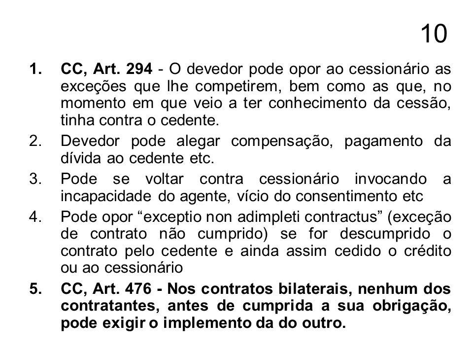 10 1.CC, Art. 294 - O devedor pode opor ao cessionário as exceções que lhe competirem, bem como as que, no momento em que veio a ter conhecimento da c