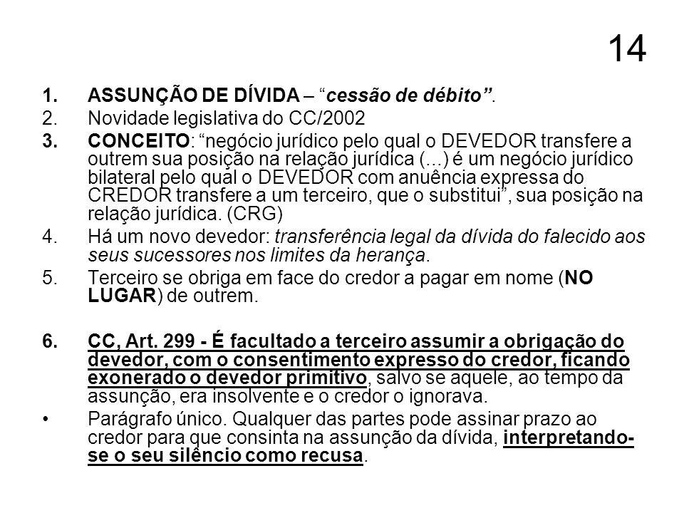 14 1.ASSUNÇÃO DE DÍVIDA – cessão de débito. 2.Novidade legislativa do CC/2002 3.CONCEITO: negócio jurídico pelo qual o DEVEDOR transfere a outrem sua