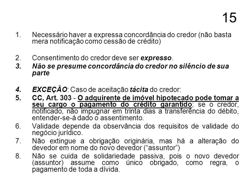 15 1.Necessário haver a expressa concordância do credor (não basta mera notificação como cessão de crédito) 2.Consentimento do credor deve ser express