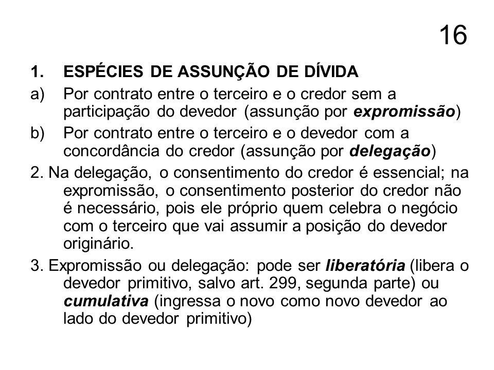 16 1.ESPÉCIES DE ASSUNÇÃO DE DÍVIDA a)Por contrato entre o terceiro e o credor sem a participação do devedor (assunção por expromissão) b)Por contrato