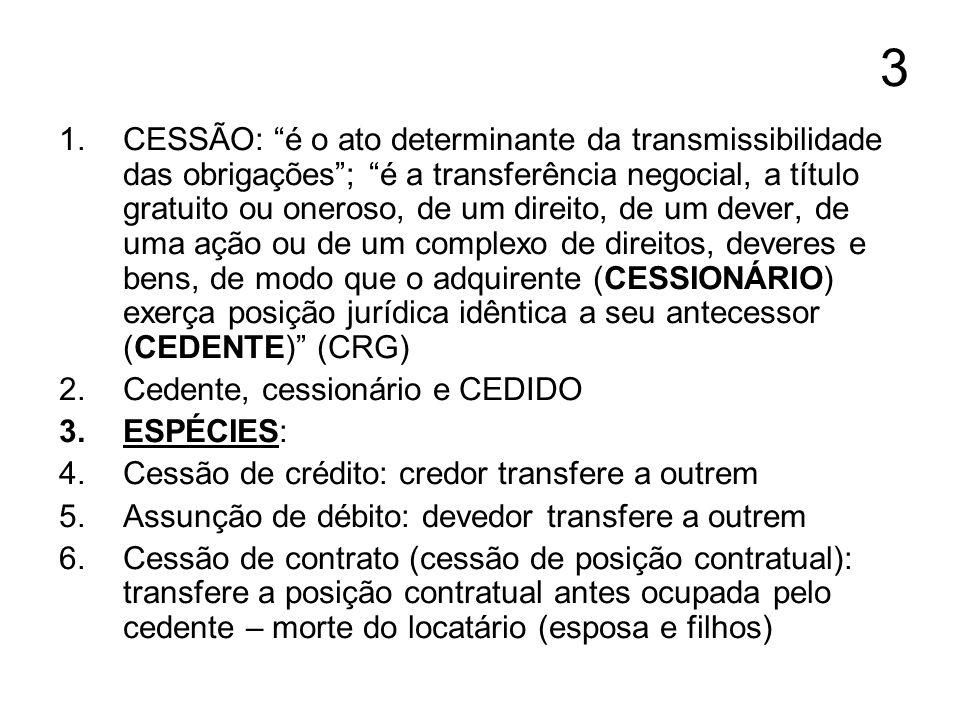 3 1.CESSÃO: é o ato determinante da transmissibilidade das obrigações; é a transferência negocial, a título gratuito ou oneroso, de um direito, de um
