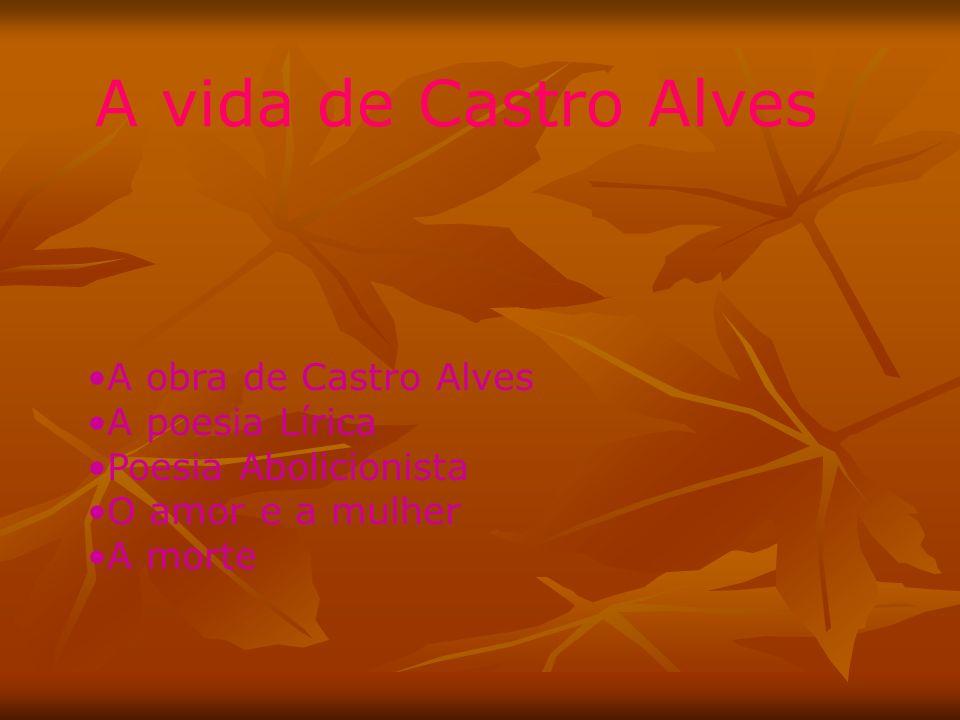 A vida de Castro Alves A obra de Castro Alves A poesia Lírica Poesia Abolicionista O amor e a mulher A morte