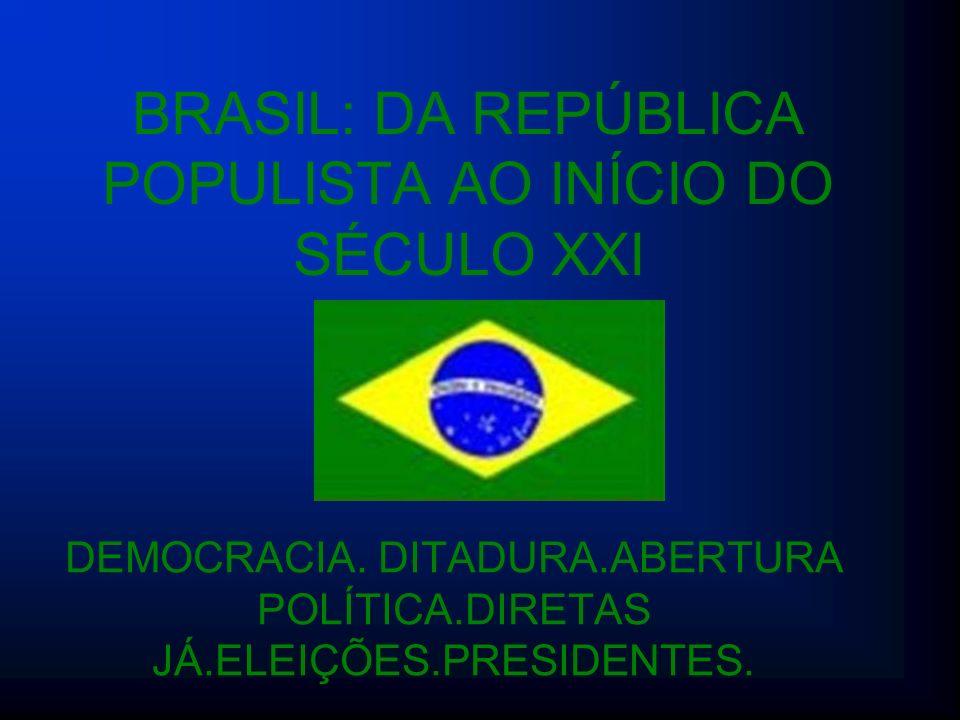 BRASIL: DA REPÚBLICA POPULISTA AO INÍCIO DO SÉCULO XXI DEMOCRACIA. DITADURA.ABERTURA POLÍTICA.DIRETAS JÁ.ELEIÇÕES.PRESIDENTES.