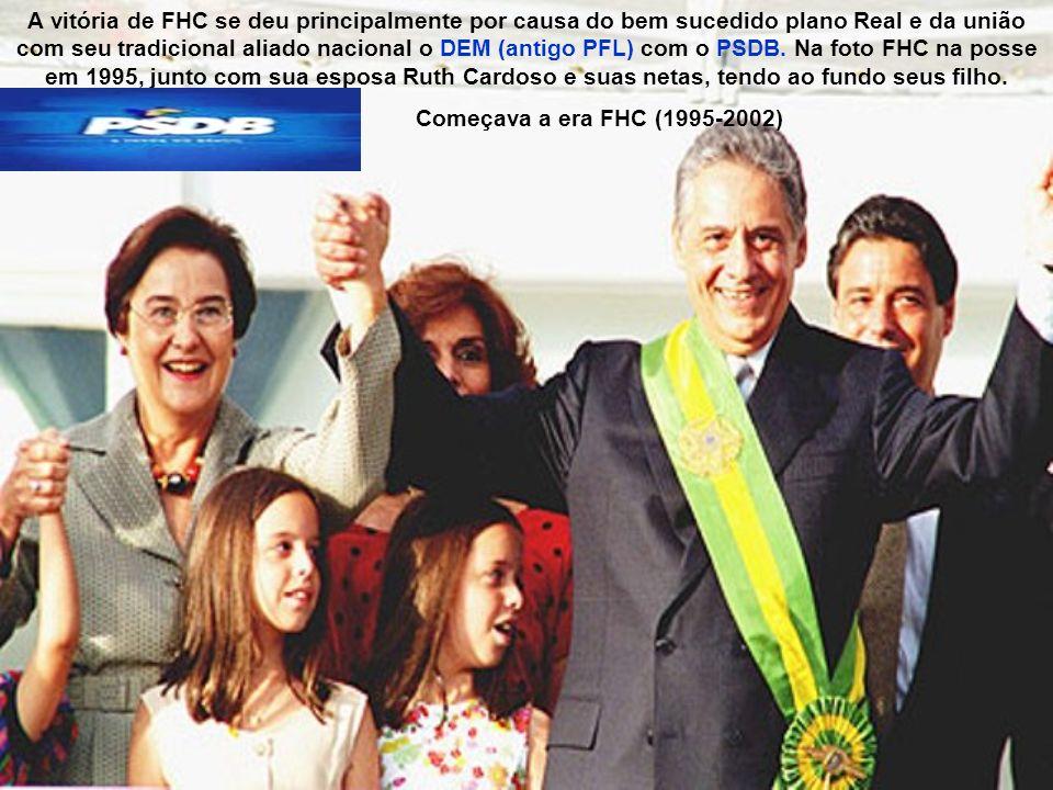 A vitória de FHC se deu principalmente por causa do bem sucedido plano Real e da união com seu tradicional aliado nacional o DEM (antigo PFL) com o PS