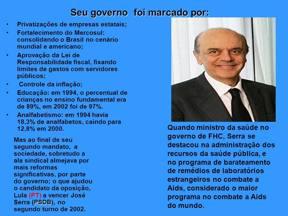 Seu governo foi marcado por: Privatizações de empresas estatais; Fortalecimento do Mercosul: consolidando o Brasil no cenário mundial e americano; Apr
