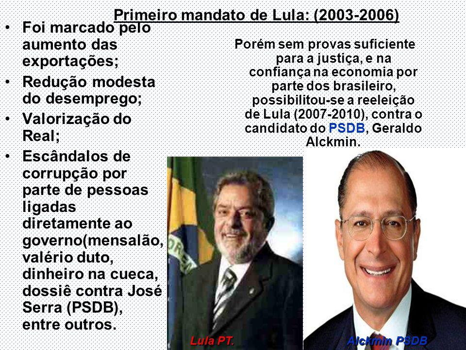 Primeiro mandato de Lula: (2003-2006) Foi marcado pelo aumento das exportações; Redução modesta do desemprego; Valorização do Real; Escândalos de corr