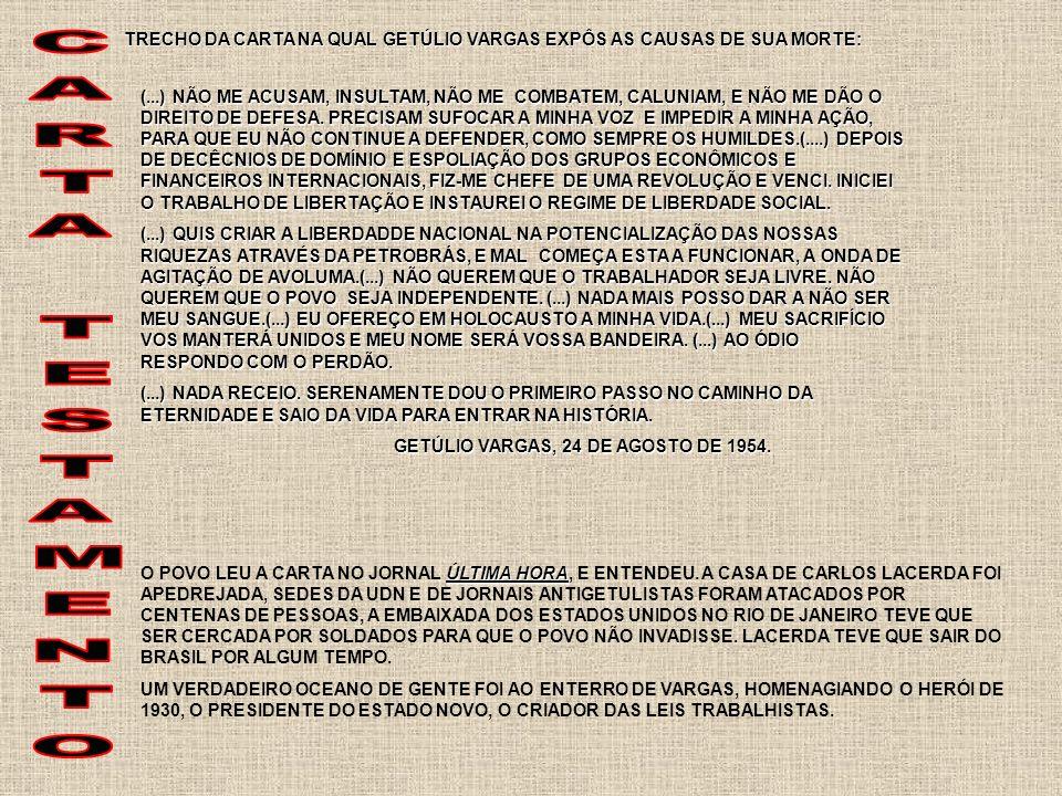 UDN APÓS O SUICÍDIO DE VARGAS, O PAÍS VIVEU GRANDE TENSÃO POLÍTICO-MILITAR, O VICE-PRESIDENTE CAFÉ FILHO ASSUMIU, QUE APÓS 16 MESES DEIXOU O CARGO ALEGANDO PROBLEMAS DE SAÚDE, SENDO SUBSTITUÍDO POR CARLOS LUZ, PRESIDENTE DA CÂMARA DOS DEPUTADOS, QUE LOGO FOI DEPOSTO PELO GENERAL LOTT, MINISTRO DA GUERRA AO SABER DE UM COMPLÔ PARA IMPEDIR A POSSE DO NOVO PRESIDENTE, JUSCELINO KUBITSCHEK E DE JOÃO GOULART, VICE-PRESIDENTE.