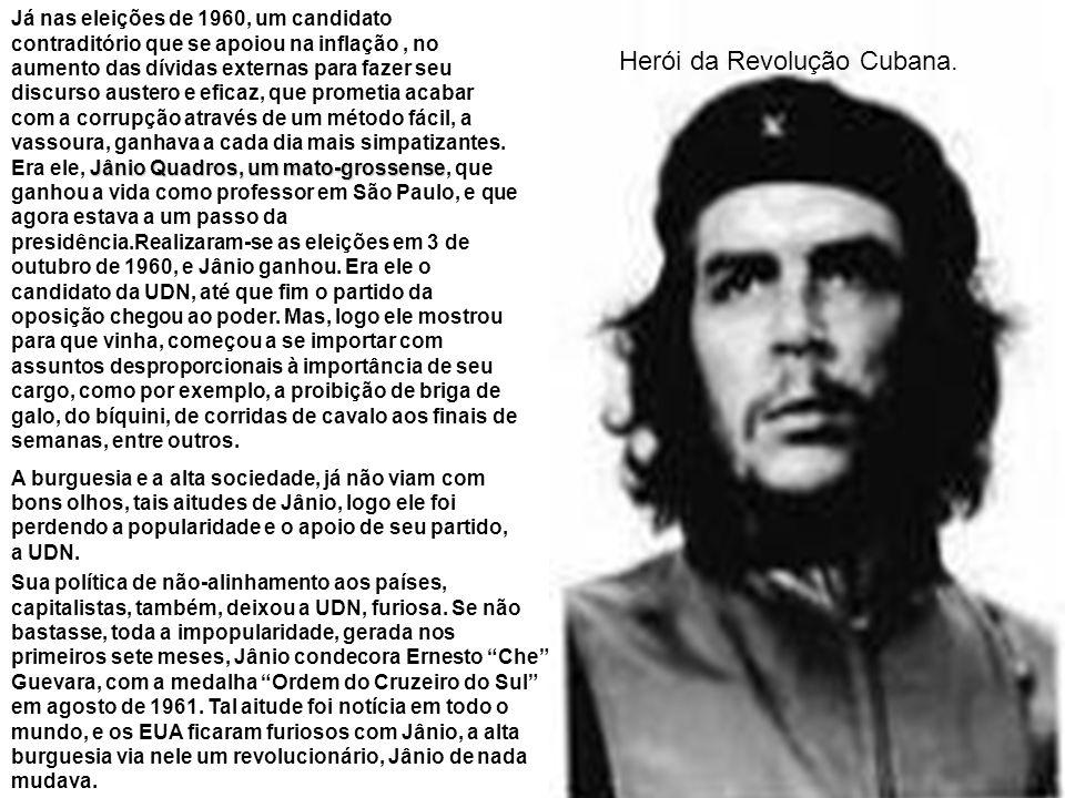 Jânio em 25 de agosto de 1961, após ouvir em rede nacional, a fala de Carlos Lacerda, líder da UDN e governador do estado da Guanabara, que o próprio Jânio estava tramando um golpe para se transformar em presidente vitalício, ditador, ele renunciou,.