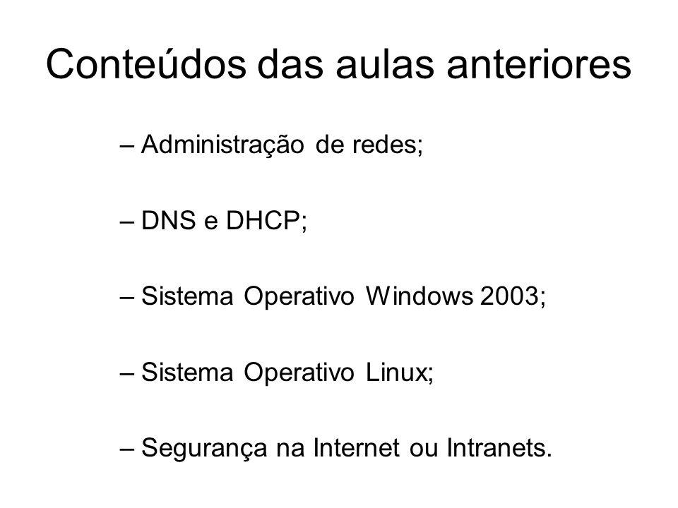 Conteúdos das aulas anteriores –Administração de redes; –DNS e DHCP; –Sistema Operativo Windows 2003; –Sistema Operativo Linux; –Segurança na Internet ou Intranets.