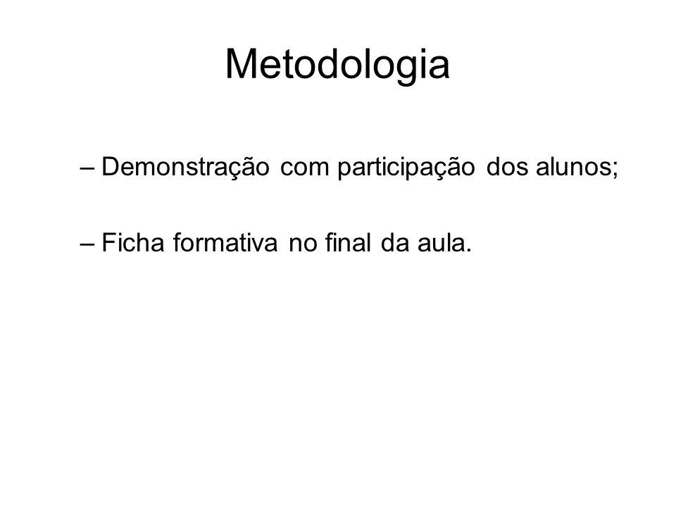 Metodologia –Demonstração com participação dos alunos; –Ficha formativa no final da aula.