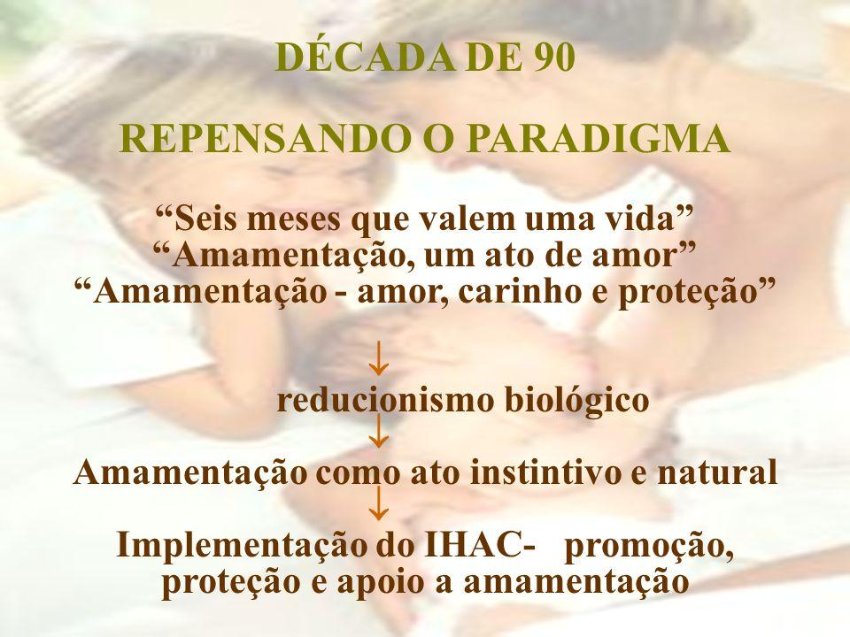 DÉCADA DE 90 REPENSANDO O PARADIGMA Seis meses que valem uma vida Amamentação, um ato de amor Amamentação - amor, carinho e proteção reducionismo biol