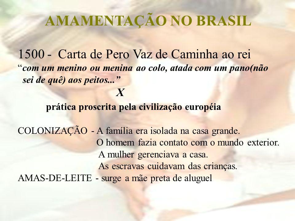 AMAMENTAÇÃO NO BRASIL 1500 - Carta de Pero Vaz de Caminha ao rei com um menino ou menina ao colo, atada com um pano(não sei de quê) aos peitos... X pr