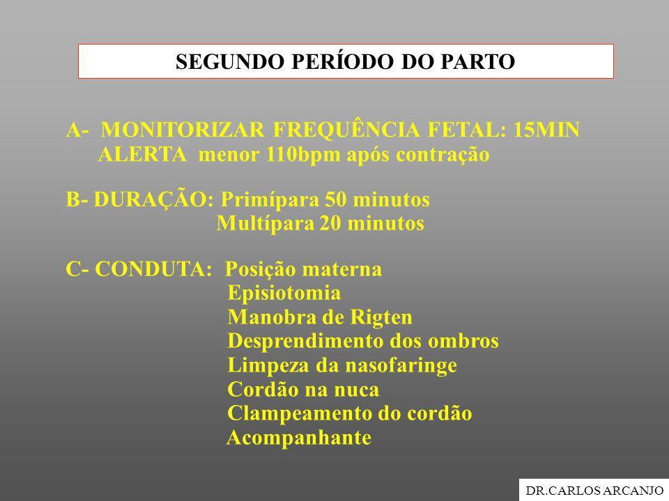 SEGUNDO PERÍODO DO PARTO DR.CARLOS ARCANJO A- MONITORIZAR FREQUÊNCIA FETAL: 15MIN ALERTA menor 110bpm após contração B- DURAÇÃO: Primípara 50 minutos