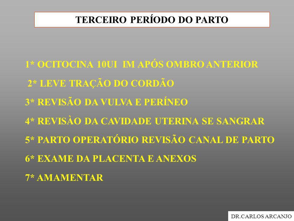 TERCEIRO PERÍODO DO PARTO DR.CARLOS ARCANJO 1* OCITOCINA 10UI IM APÓS OMBRO ANTERIOR 2* LEVE TRAÇÃO DO CORDÃO 3* REVISÃO DA VULVA E PERÍNEO 4* REVISÀO