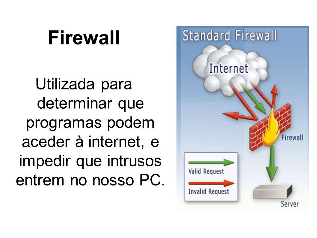 Firewall Utilizada para determinar que programas podem aceder à internet, e impedir que intrusos entrem no nosso PC.