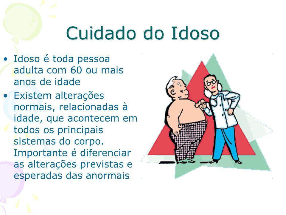 Cuidado do Idoso Idoso é toda pessoa adulta com 60 ou mais anos de idade Existem alterações normais, relacionadas à idade, que acontecem em todos os p
