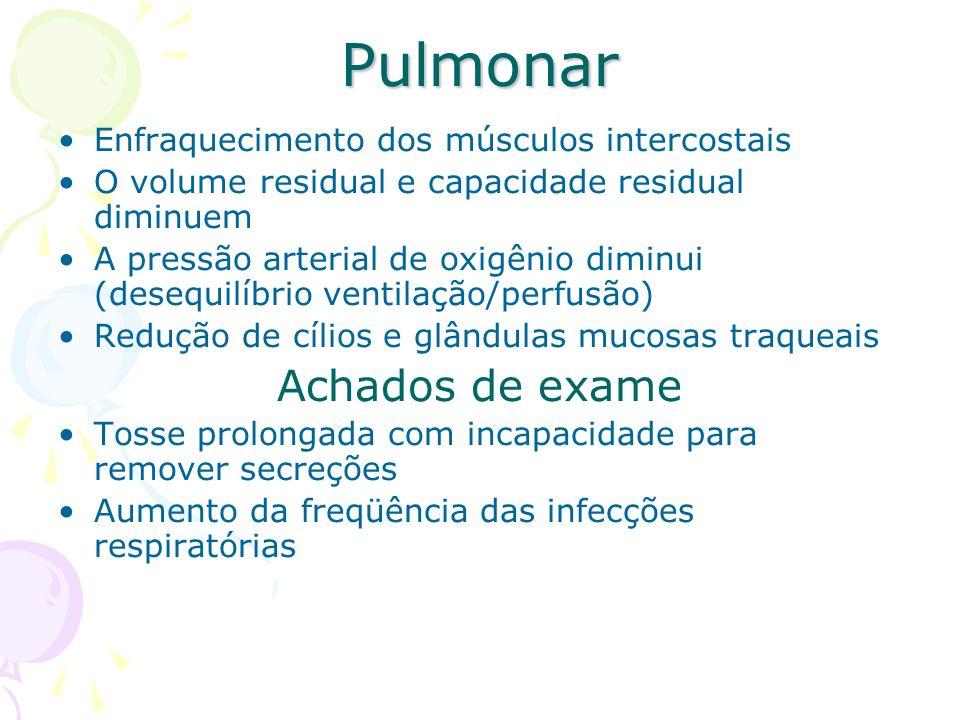 Pulmonar Enfraquecimento dos músculos intercostais O volume residual e capacidade residual diminuem A pressão arterial de oxigênio diminui (desequilíb