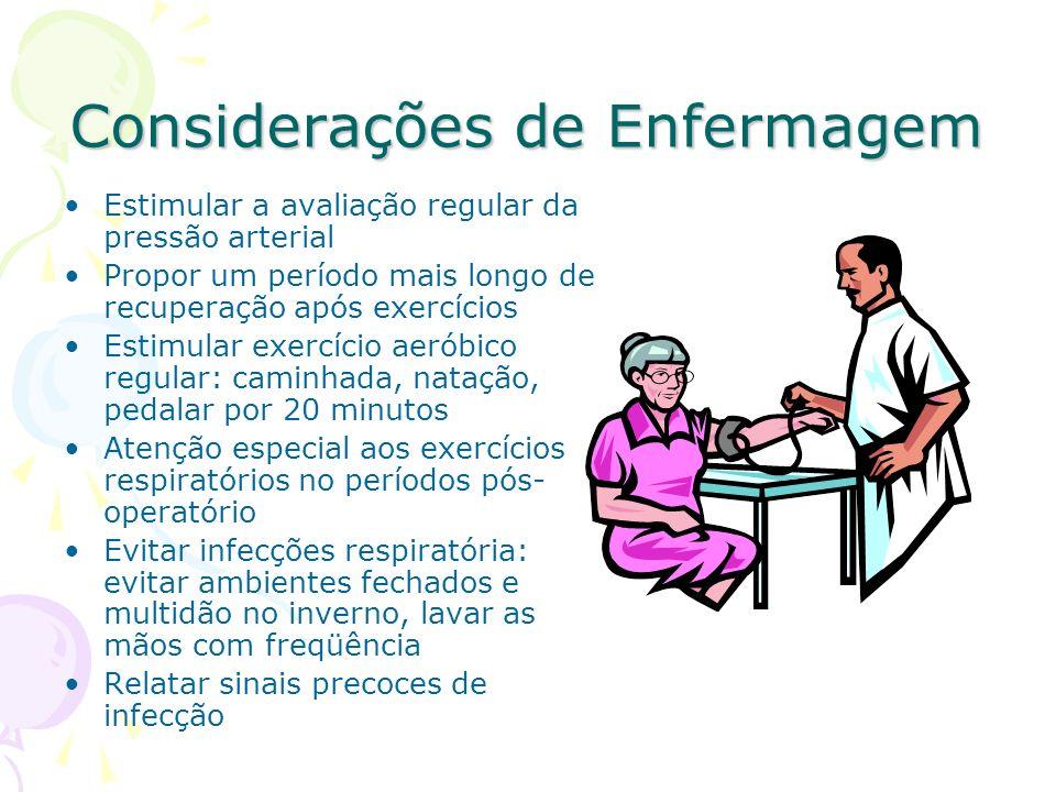 Considerações de Enfermagem Estimular a avaliação regular da pressão arterial Propor um período mais longo de recuperação após exercícios Estimular ex