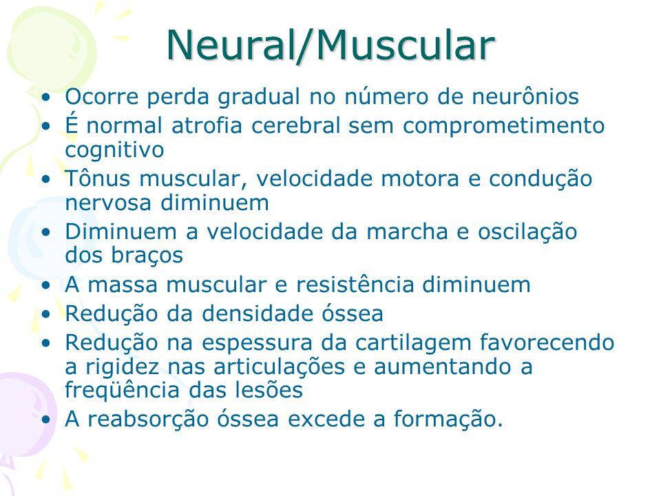 Neural/Muscular Ocorre perda gradual no número de neurônios É normal atrofia cerebral sem comprometimento cognitivo Tônus muscular, velocidade motora
