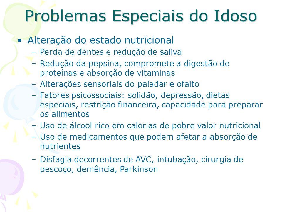 Problemas Especiais do Idoso Alteração do estado nutricional –Perda de dentes e redução de saliva –Redução da pepsina, compromete a digestão de proteí