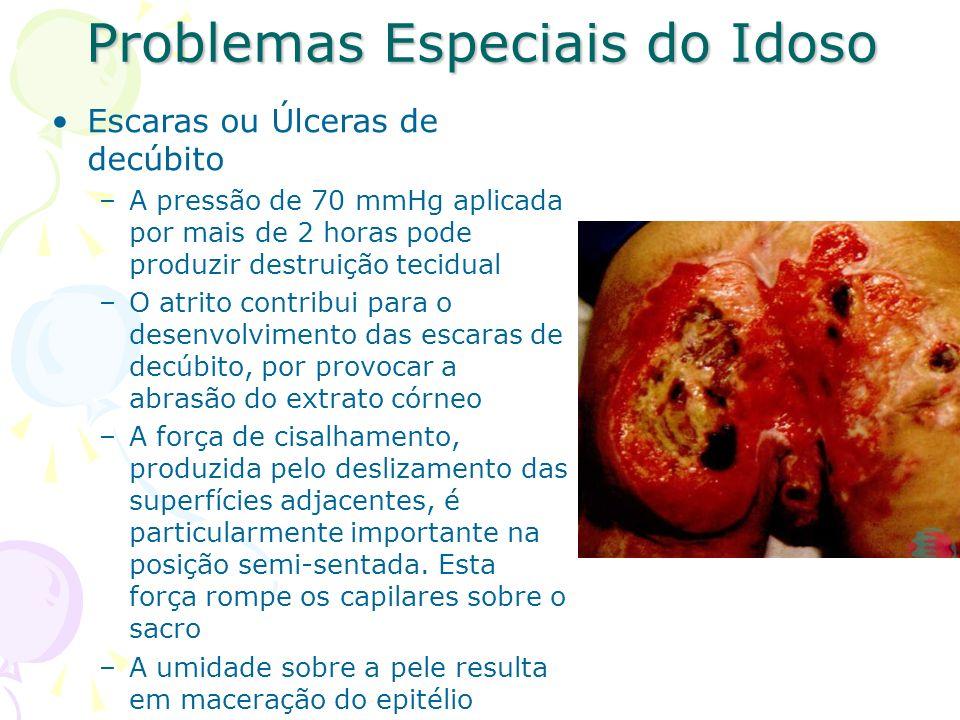 Problemas Especiais do Idoso Escaras ou Úlceras de decúbito –A pressão de 70 mmHg aplicada por mais de 2 horas pode produzir destruição tecidual –O at