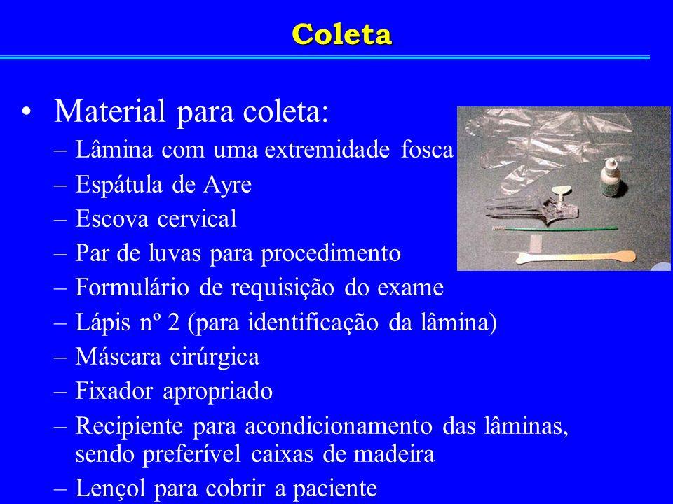 Material para coleta: –Lâmina com uma extremidade fosca –Espátula de Ayre –Escova cervical –Par de luvas para procedimento –Formulário de requisição d