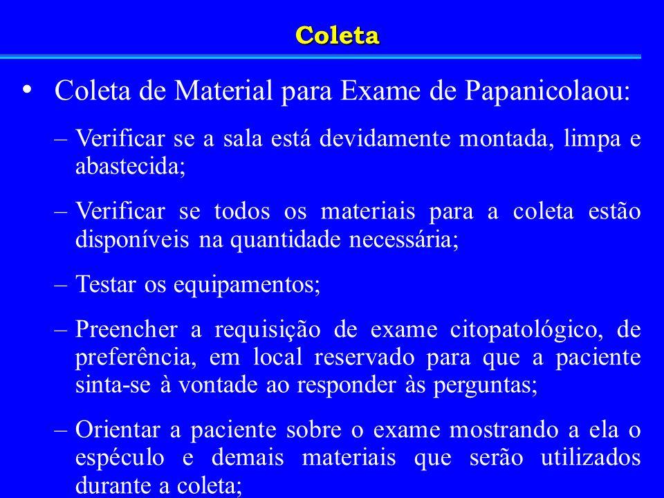 Coleta de Material para Exame de Papanicolaou: –Verificar se a sala está devidamente montada, limpa e abastecida; –Verificar se todos os materiais par