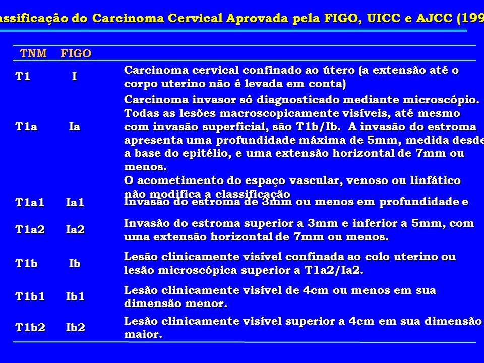 TNMFIGO T1I Carcinoma cervical confinado ao útero (a extensão até o corpo uterino não é levada em conta) T1aIa Carcinoma invasor só diagnosticado medi