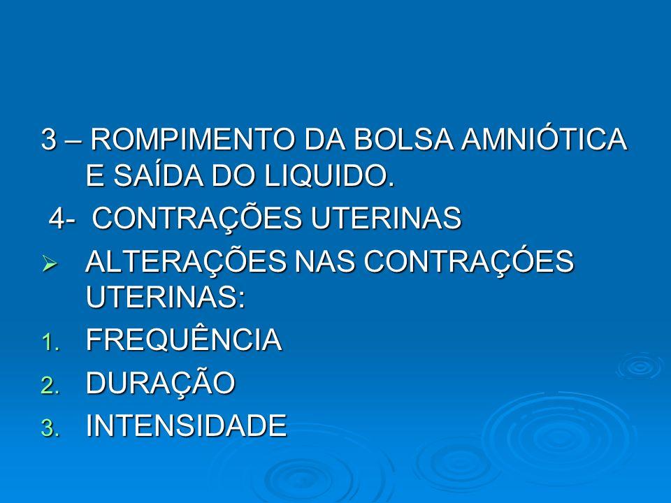 3 – ROMPIMENTO DA BOLSA AMNIÓTICA E SAÍDA DO LIQUIDO. 4- CONTRAÇÕES UTERINAS 4- CONTRAÇÕES UTERINAS ALTERAÇÕES NAS CONTRAÇÓES UTERINAS: ALTERAÇÕES NAS