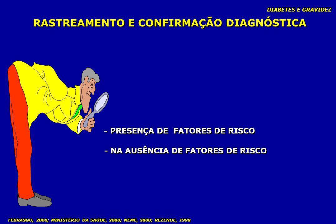 DIABETES E GRAVIDEZ FEBRASGO, 2000; MINISTÉRIO DA SAÚDE, 2000; NEME, 2000; REZENDE, 1998 RASTREAMENTO E CONFIRMAÇÃO DIAGNÓSTICA - PRESENÇA DE FATORES