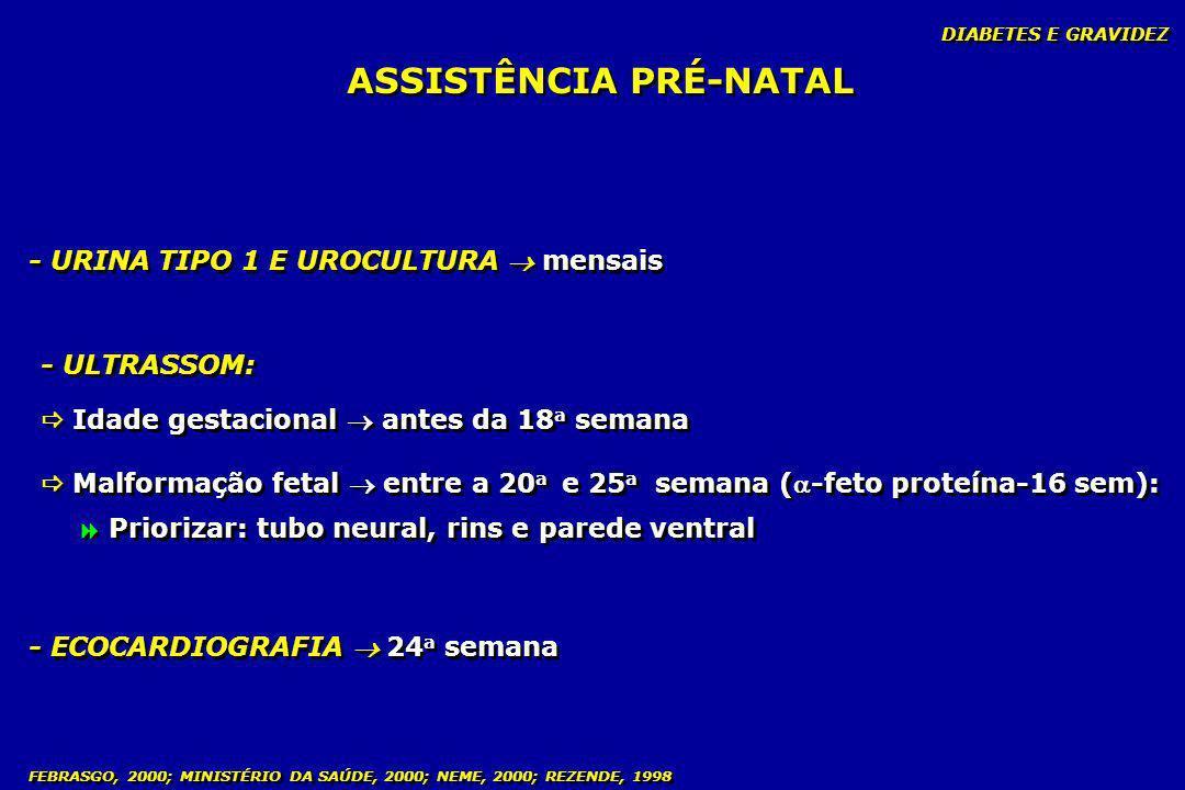 DIABETES E GRAVIDEZ FEBRASGO, 2000; MINISTÉRIO DA SAÚDE, 2000; NEME, 2000; REZENDE, 1998 ASSISTÊNCIA PRÉ-NATAL - URINA TIPO 1 E UROCULTURA mensais - U