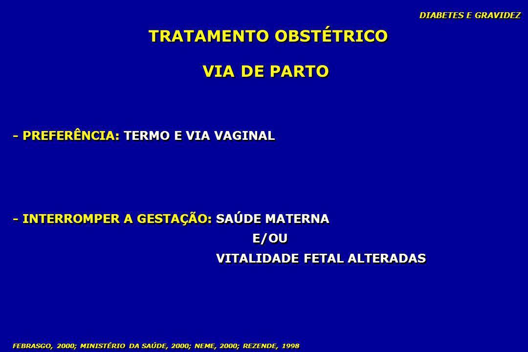 DIABETES E GRAVIDEZ FEBRASGO, 2000; MINISTÉRIO DA SAÚDE, 2000; NEME, 2000; REZENDE, 1998 TRATAMENTO OBSTÉTRICO VIA DE PARTO - INTERROMPER A GESTAÇÃO:
