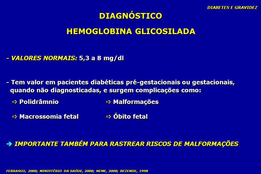 FEBRASGO, 2000; MINISTÉRIO DA SAÚDE, 2000; NEME, 2000; REZENDE, 1998 DIAGNÓSTICO HEMOGLOBINA GLICOSILADA - Tem valor em pacientes diabéticas pré-gesta