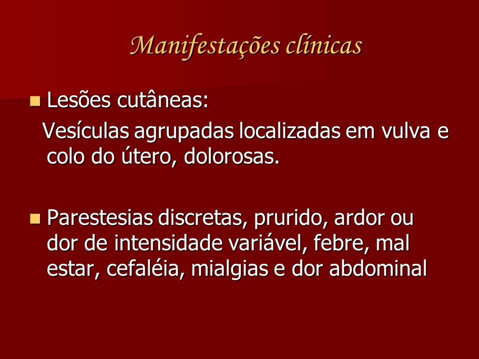 Manifestações clínicas Manifestações clínicas Lesões cutâneas: Lesões cutâneas: Vesículas agrupadas localizadas em vulva e colo do útero, dolorosas. V