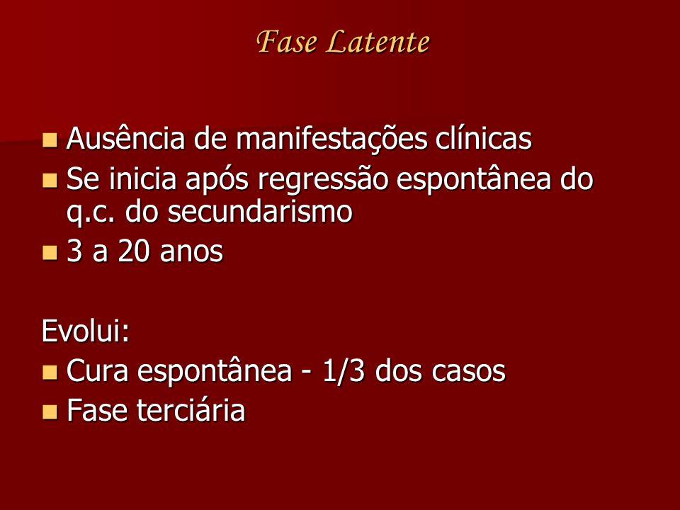 Fase Latente Ausência de manifestações clínicas Ausência de manifestações clínicas Se inicia após regressão espontânea do q.c. do secundarismo Se inic