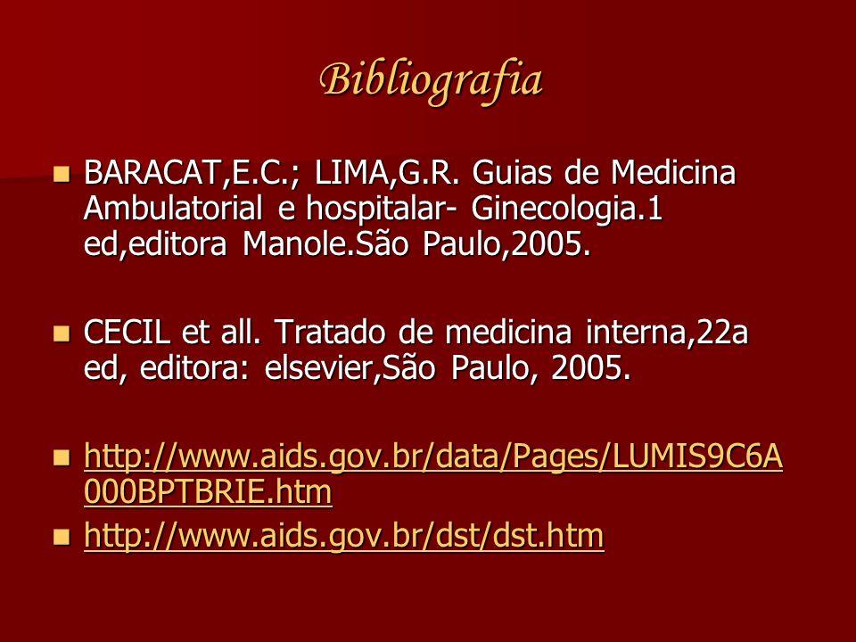 Bibliografia BARACAT,E.C.; LIMA,G.R. Guias de Medicina Ambulatorial e hospitalar- Ginecologia.1 ed,editora Manole.São Paulo,2005. BARACAT,E.C.; LIMA,G