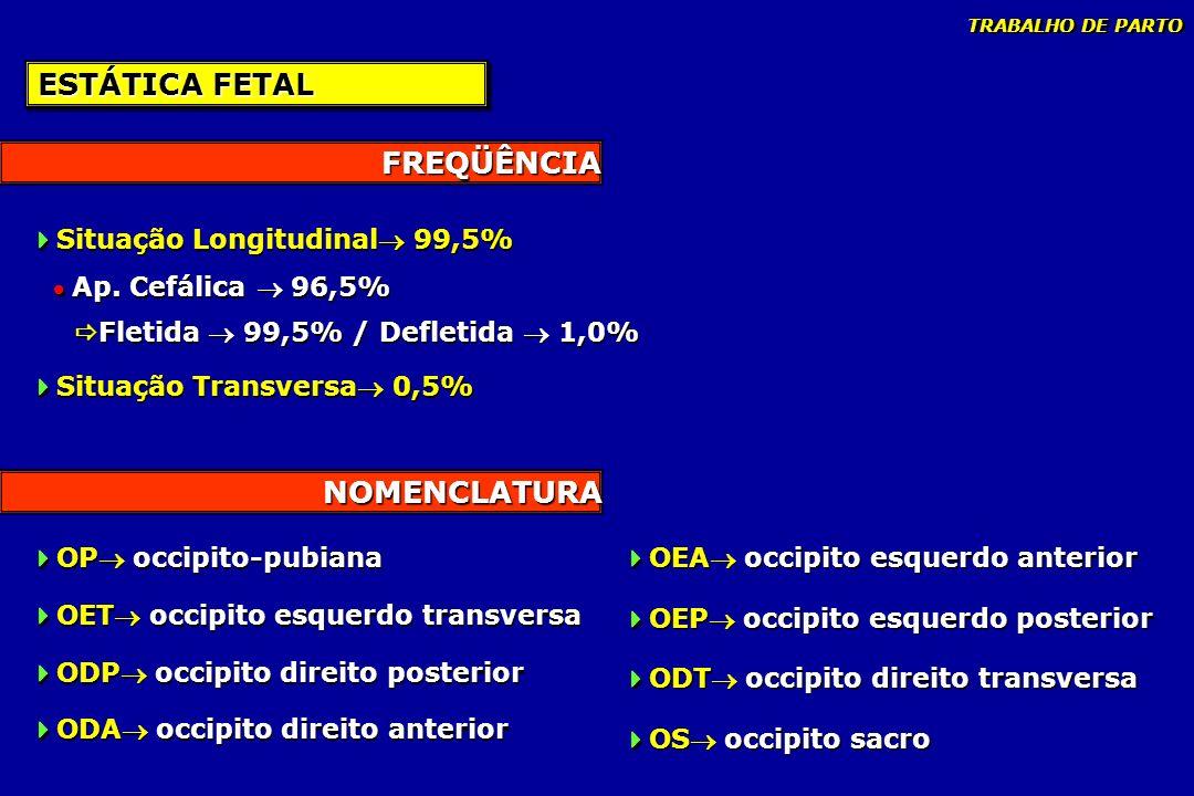 NOMENCLATURA FREQÜÊNCIA ESTÁTICA FETAL Situação Longitudinal 99,5% Ap. Cefálica 96,5% Fletida 99,5% / Defletida 1,0% Situação Transversa 0,5% Situação