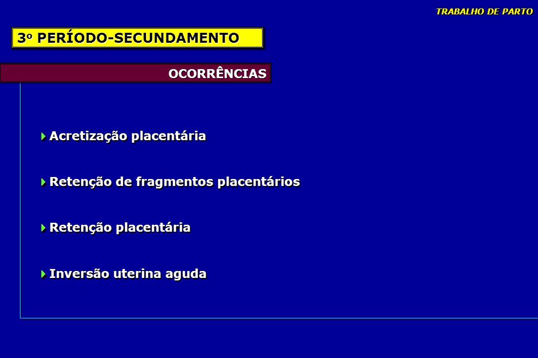 OCORRÊNCIAS Acretização placentária Retenção de fragmentos placentários Retenção placentária Inversão uterina aguda Acretização placentária Retenção d