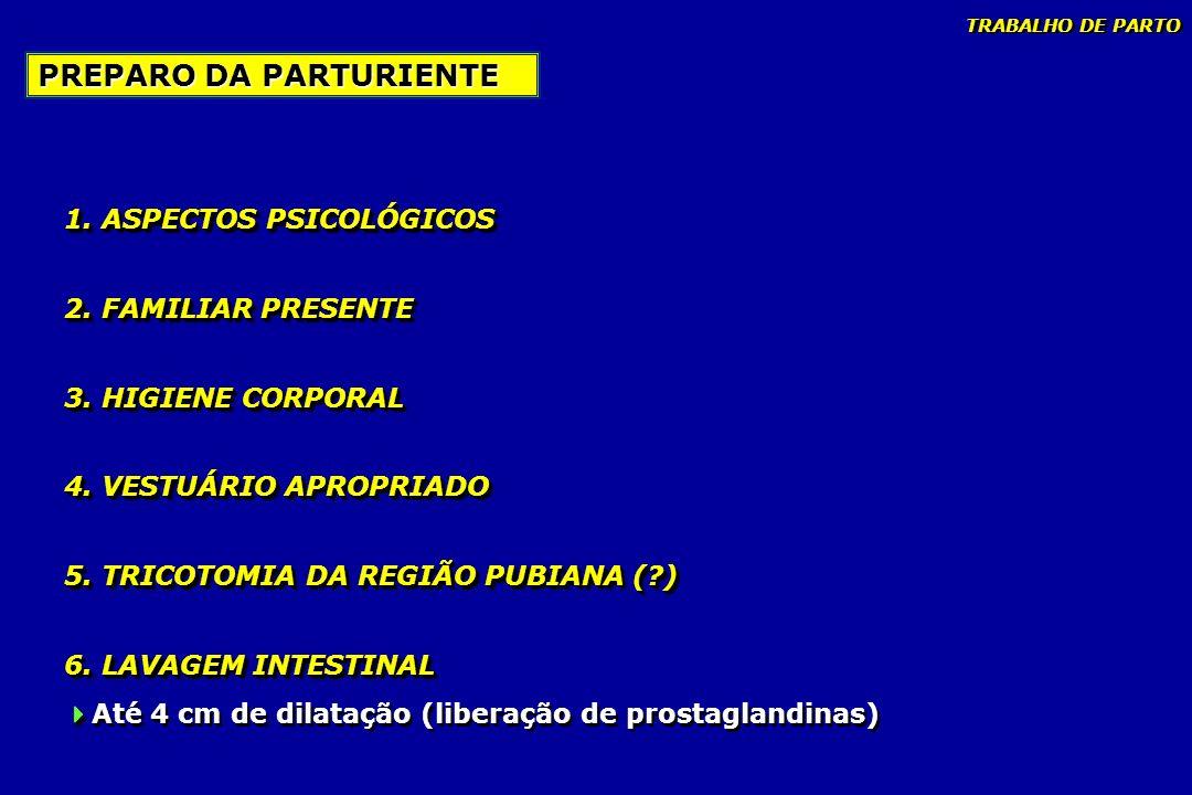 1. ASPECTOS PSICOLÓGICOS 2. FAMILIAR PRESENTE 3. HIGIENE CORPORAL 4. VESTUÁRIO APROPRIADO 5. TRICOTOMIA DA REGIÃO PUBIANA (?) 6. LAVAGEM INTESTINAL 1.